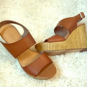 Camel-colored Leather Platform Sandals
